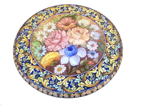 Lava stone table floral decoration and ornate blue, diameter 60 cm