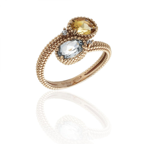 RING WITH BLUE AND CITRINE STONE