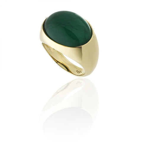 RING WITH NATURAL EMERALD STONE