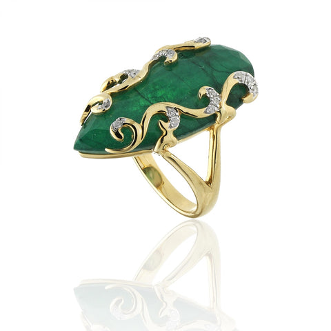 RING WITH DIAMOND AND ROOT OF EMERALD