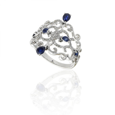 RING WITH DIAMOND AND NATURAL SAPPHIRE