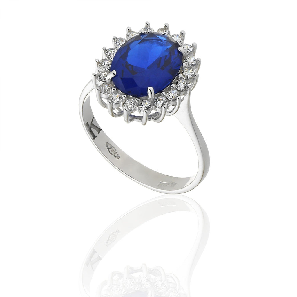 RING WITH BLUE DARK STONE