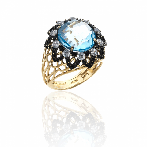 RING WITH BLUE TOPAZ AND DARK SWAROVSKI