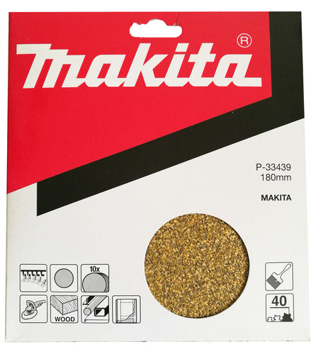 Makita P-33439 180mm Sanding Disc Pads 40 GRIT 10 Pack Toolies Tool Specialists