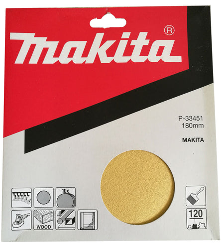 Makita P-33451 180mm Sanding Disc Pads 120 GRIT 10 Pack Toolies Tool Specialists