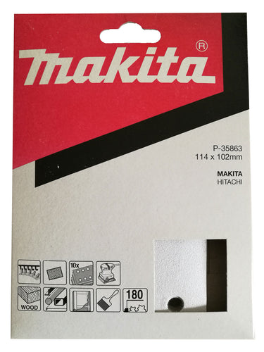 Makita P-35863 114x102mm Sanding Disc Pads 180 GRIT 10 Pack Toolies Tool Specialists