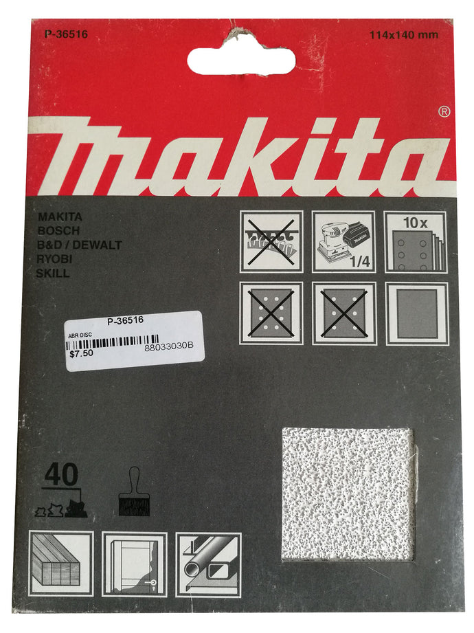 Makita P-36516 114x140mm Sanding Disc Pads 40 GRIT 10 Pack Toolies Tool Specialists