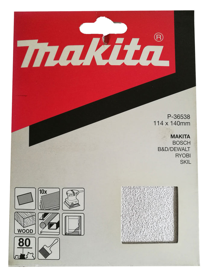 Makita P-36538 114x140mm Sanding Disc Pads 80 GRIT 10 Pack Toolies Tool Specialists