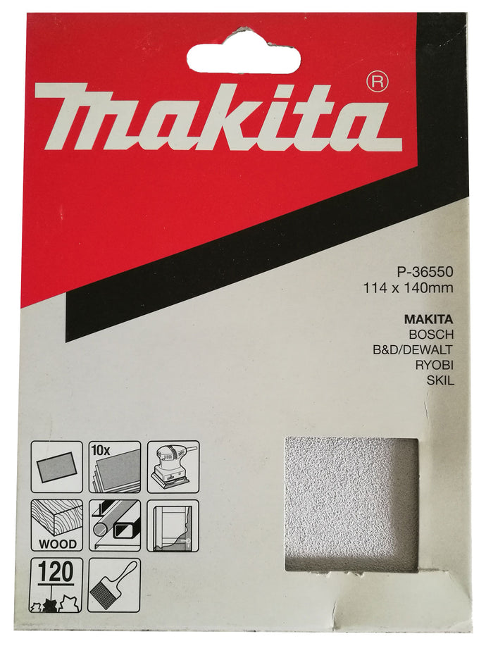 Makita P-36550 114x140mm Sanding Disc Pads 120 GRIT 10 Pack Toolies Tool Specialists