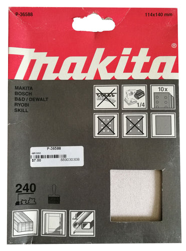 Makita P-36588 114x140mm Sanding Disc Pads 240 GRIT 10 Pack Toolies Tool Specialists
