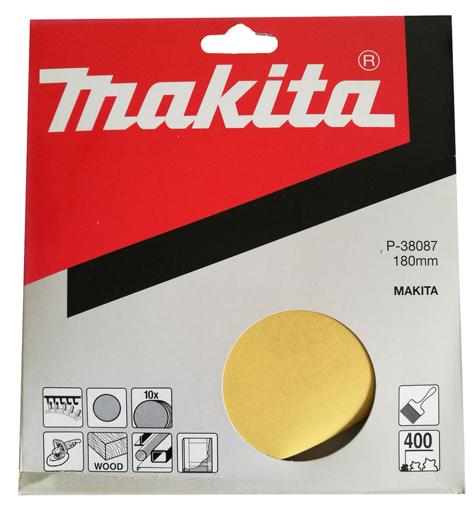 Makita P-38087 180mm Sanding Disc Pads 400 GRIT 10 Pack Toolies Tool Specialists