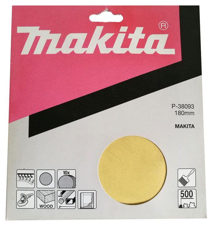 Makita P-38093 180mm Sanding Disc Pads 500 GRIT 10 Pack Toolies Tool Specialists