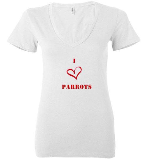I Love Parrots Ladies Deep V-Neck