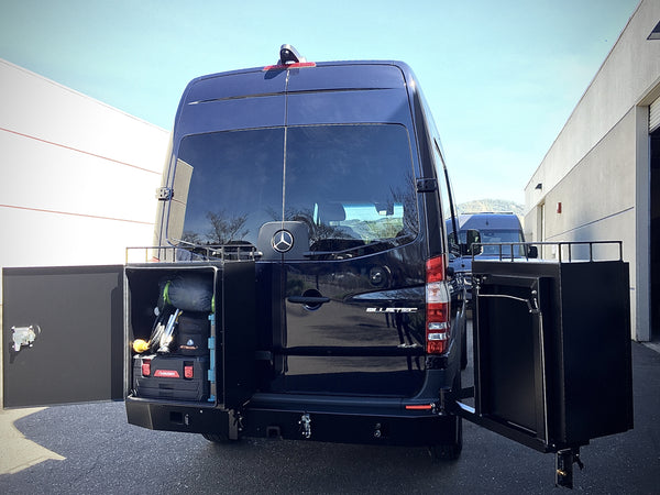 ALUMINESS rear deluxe swing-away boxes on Mercedes Sprinter camper van conversion by GR GEAR