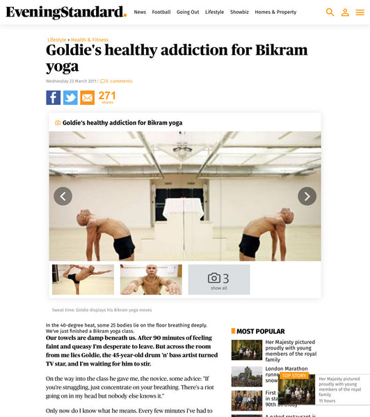 Evening Standard Goldie's Healthy Addiction for Bikram Yoga