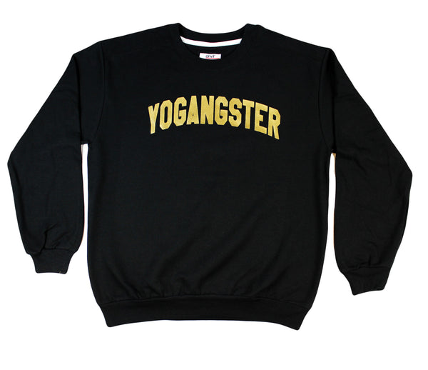 BLACK YOGANGSTER SWEATSHIRT WITH GOLD