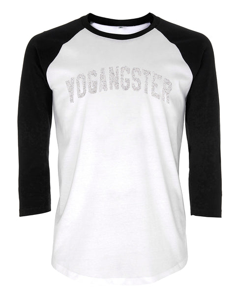c5ceedef5 BASEBALL SHIRT WITH SILVER SPARKLE PRINT – YOGANGSTER