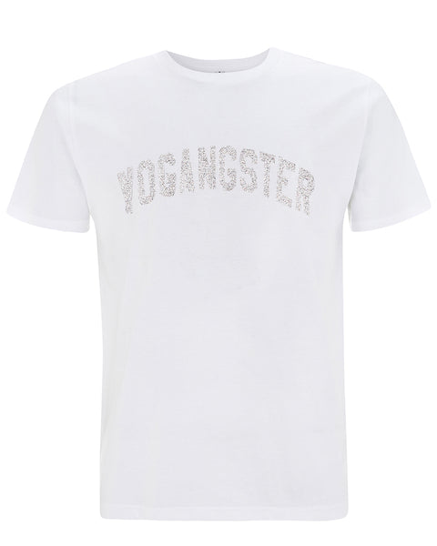 WHITE T SHIRT WITH SILVER SPARKLE PRINT