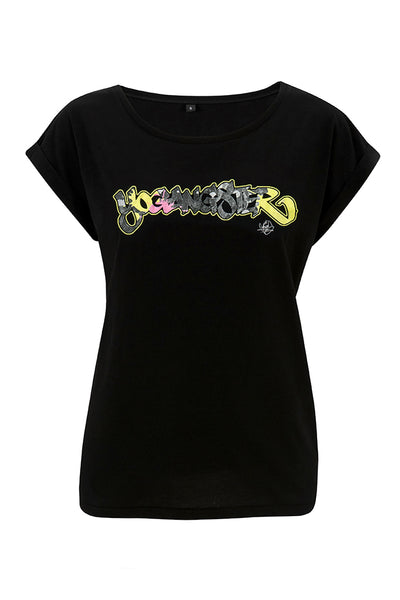 Black Graffiti Yogangster Capped Sleeve T-Shirt