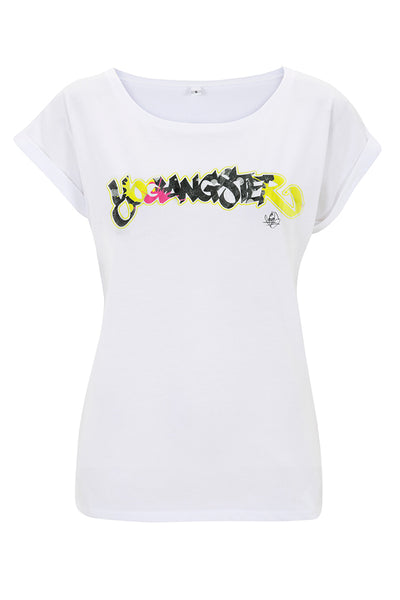 White Graffiti Yogangster Capped Sleeve T-Shirt