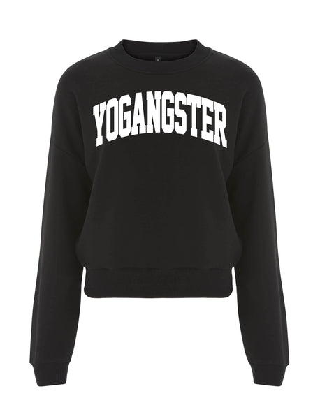 CROPPED SWEATSHIRT WITH VELVET VARSITY DESIGN