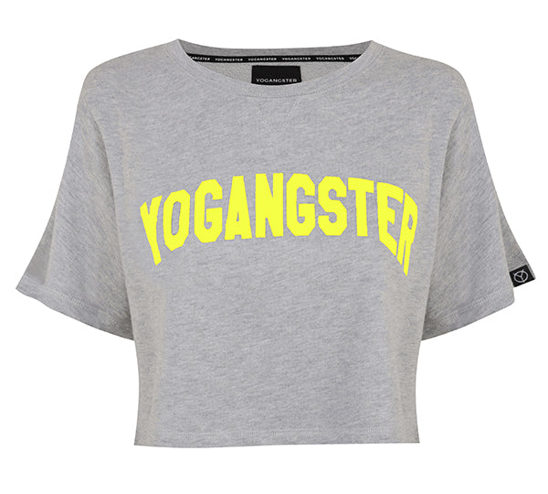 Cropped Grey & Yellow Neon Yogangster Sweatshirt