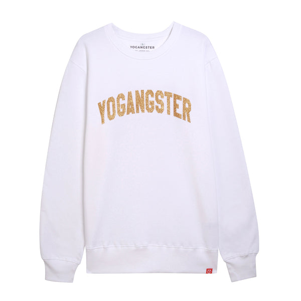 gold sparkle yoga sweatshirt