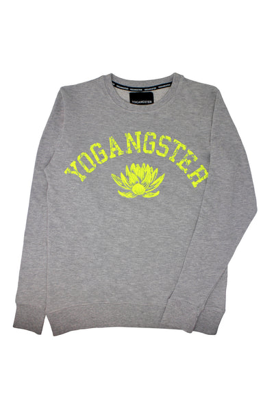 Grey & Neon Yellow Lotus Print Sweatshirt