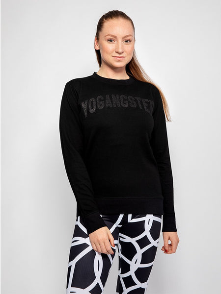BLACK SWEATSHIRT WITH BLACK SPARKLE PRINT