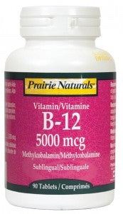 Prairie Naturals B12 Sublingual 5000mcg 90 Tablets - Dual pack (180 tabs for the price of 90), , Vitamins and Supplements, Prairie Naturals, Brentwood Health and Wellness