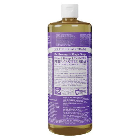 Dr. Bronner's Lavender Oil Castile Soap Liquid 472ml, , Health and Beauty, Christmas, Brentwood Health and Wellness