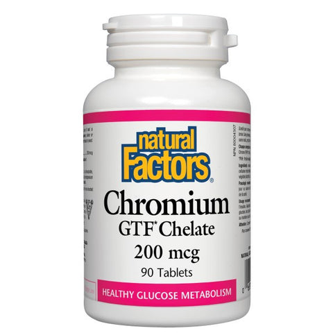 Natural Factors Chromium GTF Chelate 200mcg 90 tab, , Vitamins and Supplements, Natural Factors, Brentwood Health and Wellness