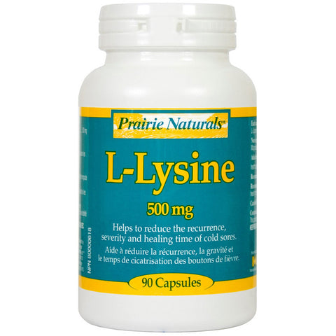Prairie Naturals L-Lysine 90 capsules - 500mg, , Vitamins and Supplements, Prairie Naturals, Brentwood Health and Wellness