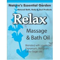 Nature's Essential Garden Relax Massage & Bath Oil 240ml, , Aromatherapy and Essential Oils, Nature's Essential Garden, Brentwood Health and Wellness