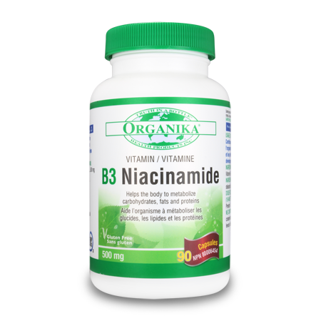 Organika Vitamin B3 Niacinamide 90caps, , Vitamins and Supplements, Organika, Brentwood Health and Wellness