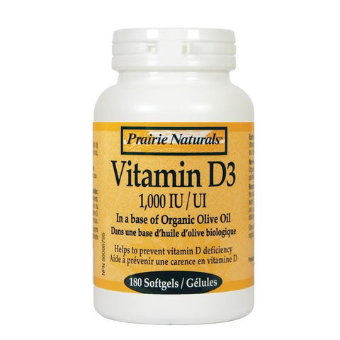 Prairie Naturals Vitamin D3 180 or 500 Capsules, , Vitamins and Supplements, Prairie Naturals, Brentwood Health and Wellness