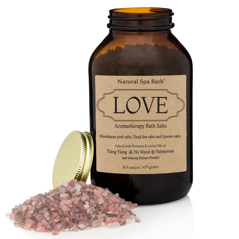 Love Aromatherapy Bath Salts Gift Set - Romantic Blend with Essential Oils includes Exfoliating Gloves - Natural Spa Bath - 1