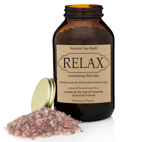 Relax Aromatherapy Bath Salts Gift Set - Stress Relieving with Essential Oils includes Exfoliating Gloves - Natural Spa Bath - 1