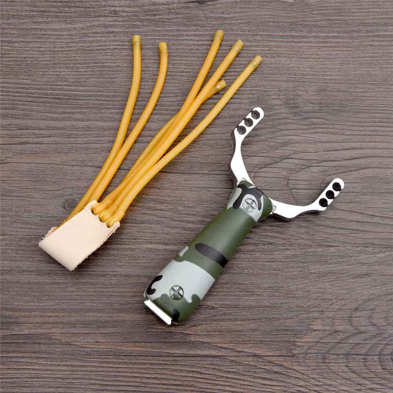 Aluminum Alloy Camouflage Sling Shot W/Leather Pocket