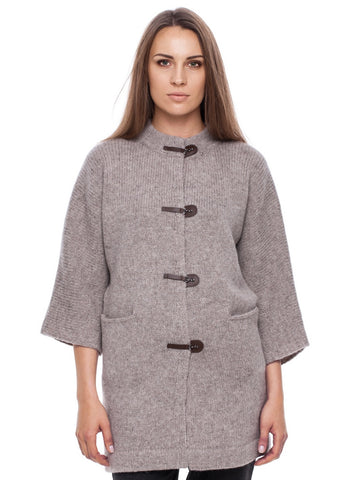 Wool cardi with leather buckles