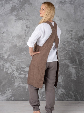 Linen apron cross back