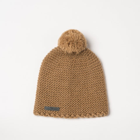 Alpaca & lambswool hat with pompom Mustard