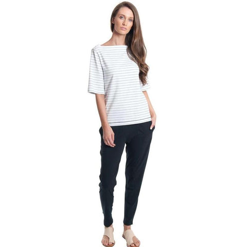Stripe boatneck elbow tee