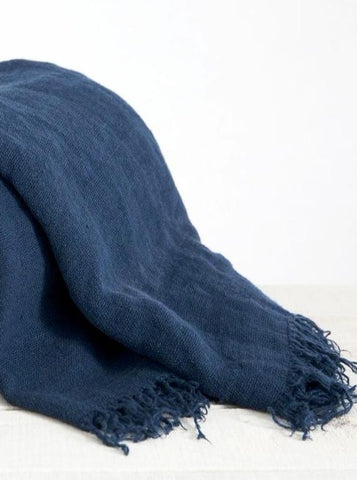 Linen Throw Indigo Large