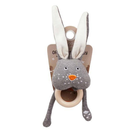 Funky rattle with teething ring bunny