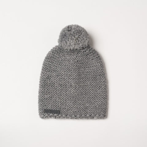 Beanie with pompom Grey