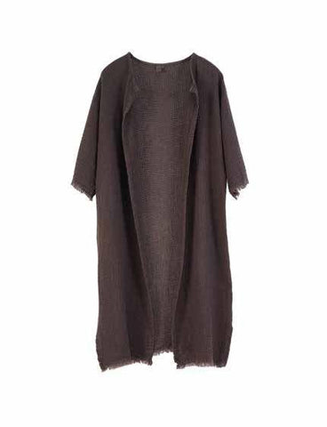Linen Gauze Coat 3/4 sleeves Charcoal