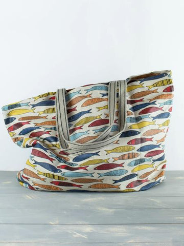 Linen coated beach bag fishes