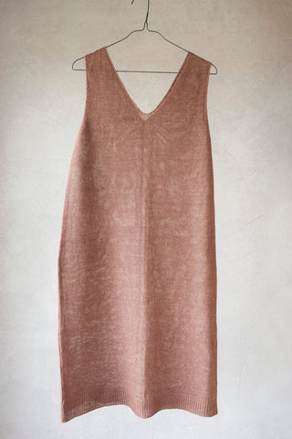 Knitted linen dress rose