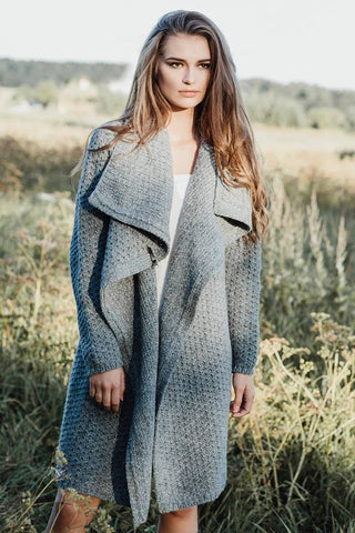 Wool cardigan in diamond stitch